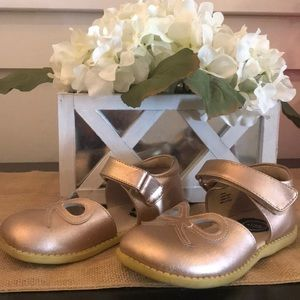 Livie and Luca Mary Jane Flat in Rose Gold.